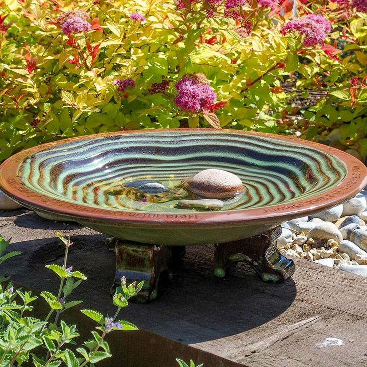 A Pretty Ceramic Water Bath For Wild Garden Birds, Inscribed With A William  Blake Poem.