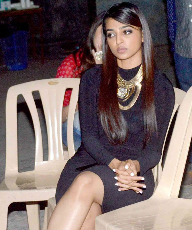 We wonder why co-star Radhika Apte looks so sullen on the sets of 'Hunterrr'…