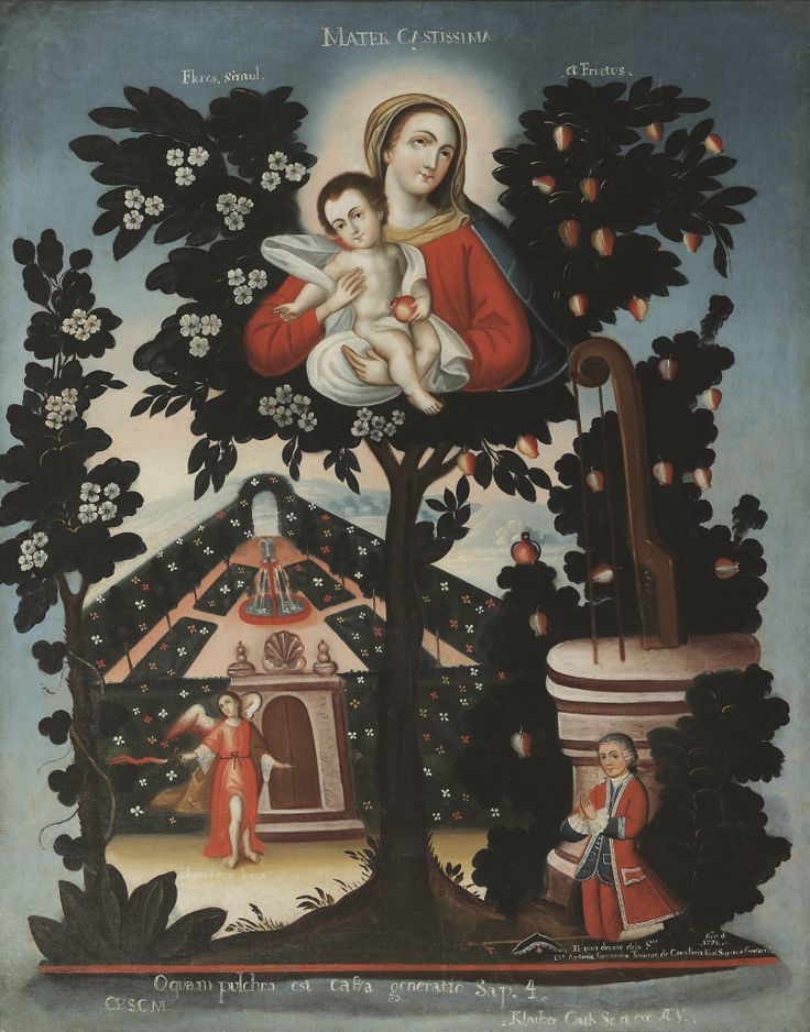 The Virgin and Child in a Tree with Marian symbols, an Angel, and the kneeling figure of Don Antonio Fernandos | From a unique collection of paintings at https://www.1stdibs.com/art/paintings/paintings/