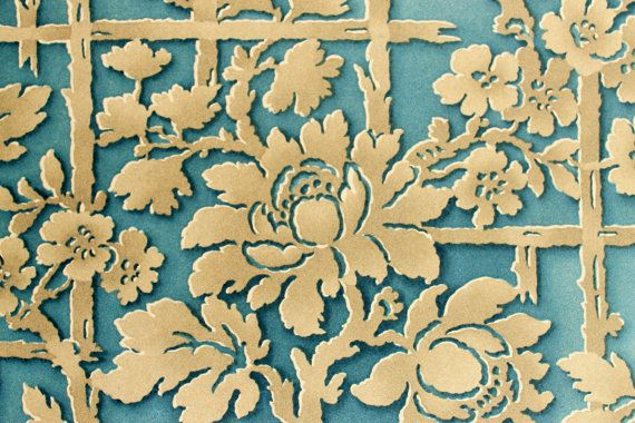 Vintage Wallpaper Sample From 1926 With Flowers And Trellis Pattern Blue Gold