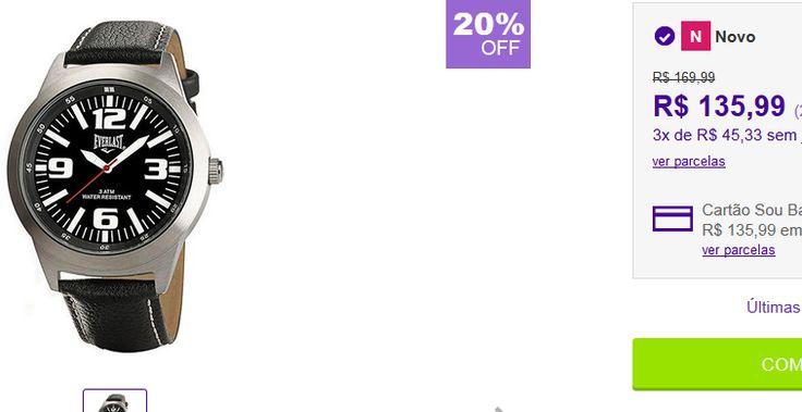 Relógio Masculino Everlast Analógico Social << R$ 8567 >>