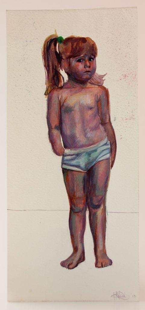 'Study of a girl' Watercolour on paper 29.5 x 13.5 cm (L x W)
