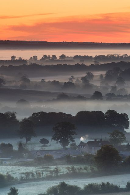 Just before sunrise, the Vale of Pewsey from Martinsell Hill, Wiltshire, England