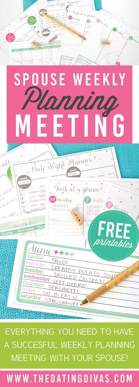 A weekly planning meeting spouse kit that will get you and your spouse on the same schedule in no time! http://www.TheDatingDivas.com
