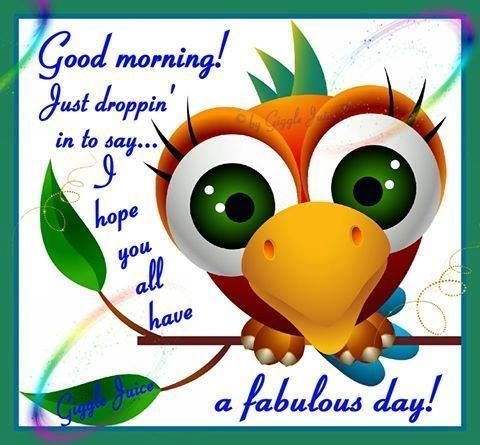 Good Morning! Just Droppin' In To Say...I Hope You All Have A Fabulous Day! morning good morning morning quotes good morning quotes good morning greetings