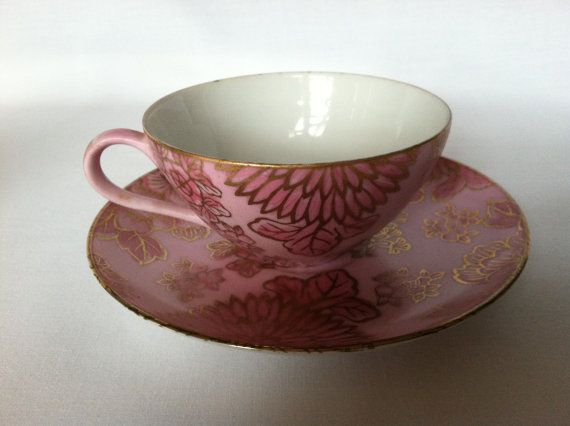 Dorothy Thorpe Pink Chrysanthemum Cup and Saucer by VintageTakes