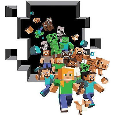 3D Minecraft Style Wall Decal Sticker Poster Vinyl Room Bedroom Decor Video Game