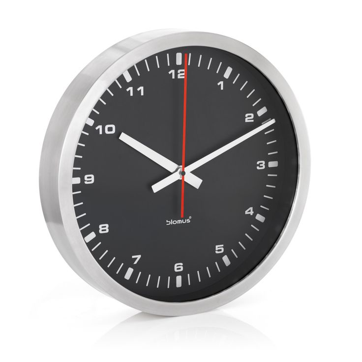 Era Stainless Steel & Black Wall Clock - 63212