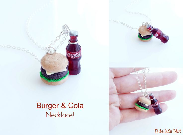 Cheeseburger & Cola-Silver plated short chain necklace!