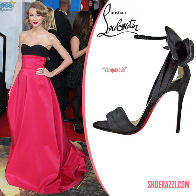 Taylor Swift in Christian Louboutin Vampanodo Black Satin Bow ...