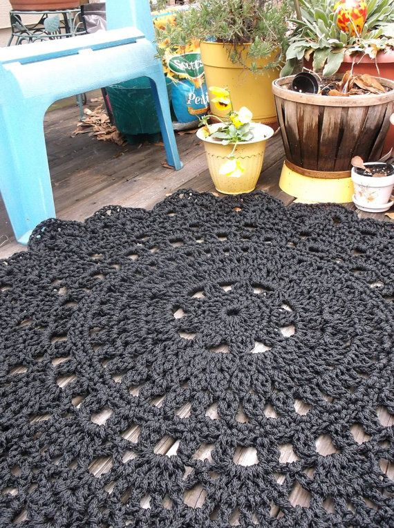 Black Patio Porch Cord Crochet Rug in 35 Round by byCamilleDesigns, $80.00