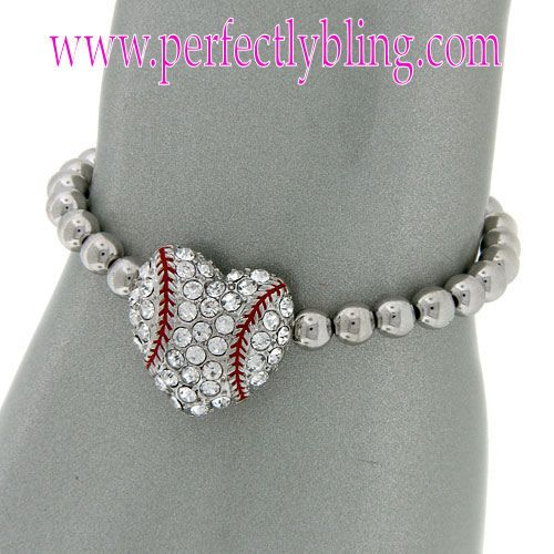 Baseball Charm Bracelet - Silver Beaded $8.99Cute. I NEED TO OWN THIS !!!
