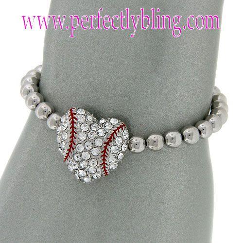 Baseball Charm Bracelet - Silver Beaded $8.99