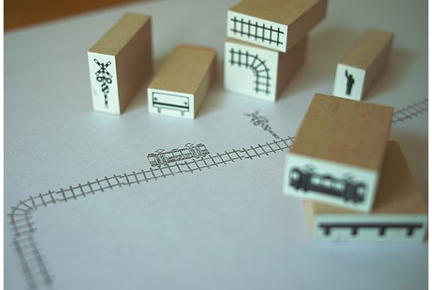 train stamps 8pieces