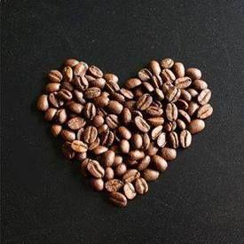 Srdíčko z kávových zrnek
