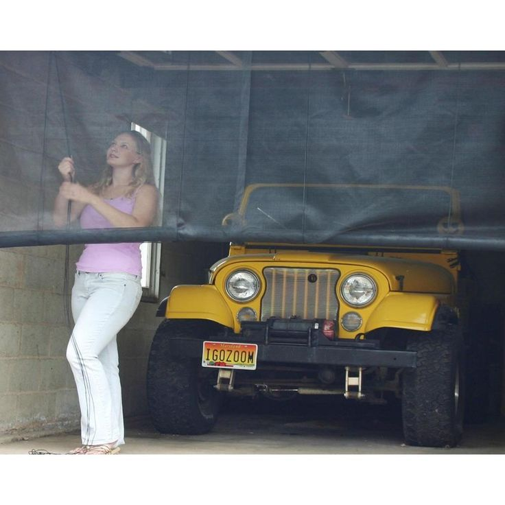 instant screen 120 in x 96 in black garage screen door with hardware and rollup accessory