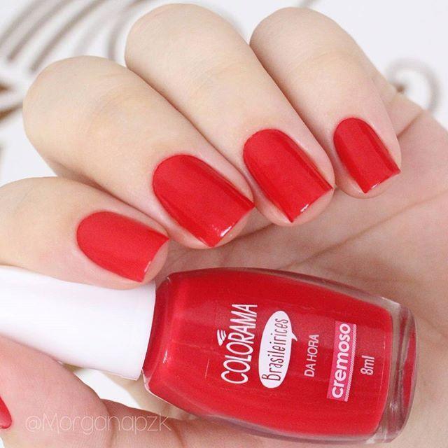 "Esmalte ""Da Hora"" da @esmaltecolorama   Unhas vermelhas   Red Nails   by @morganapzk"