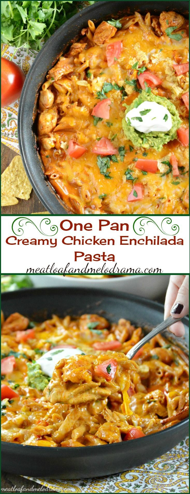 One Pan Creamy Chicken Enchilada Pasta - An easy one dish meal perfect for busy weeknights!