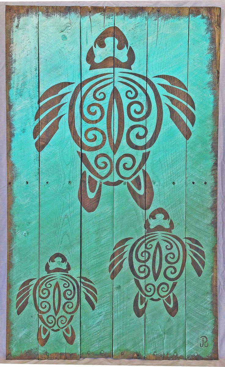 "Driftwood turtle art print, tribal turtle painting on reclaimed wood, 8"" x 10"" print by ShellsforSharks on Etsy"