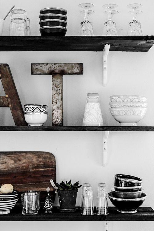 Organized Open Kitchen Shelves