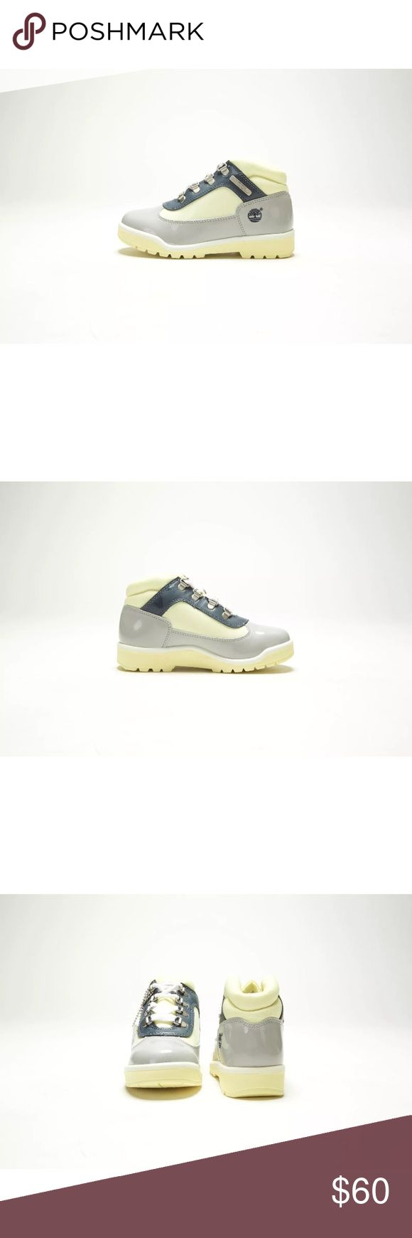 Kids Timberland Boots Short Field Boot 12 13 1 2y FOR SALE:  VINTAGE YOUTH TIMBERLAND FIELD BOOT 40731 PATENT GREY/CREAM-NAVY (MEDIUM)  Size: Youth's 12.5, 13.5, 1.5, 2, 2.5 Width: Medium Color:  Patent Grey/Cream-Navy This is unworn and authentic. I SELL IN STORE TOO. If you want something DONT WAIT. Timberland Shoes Boots