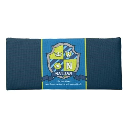 Nathan letter N name meaning bear green blue Pencil Case – Back to school preschool
