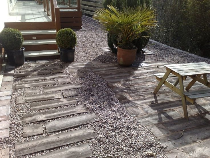 Wood Effect Concrete Sleepers in Gravel  Paths  Garden