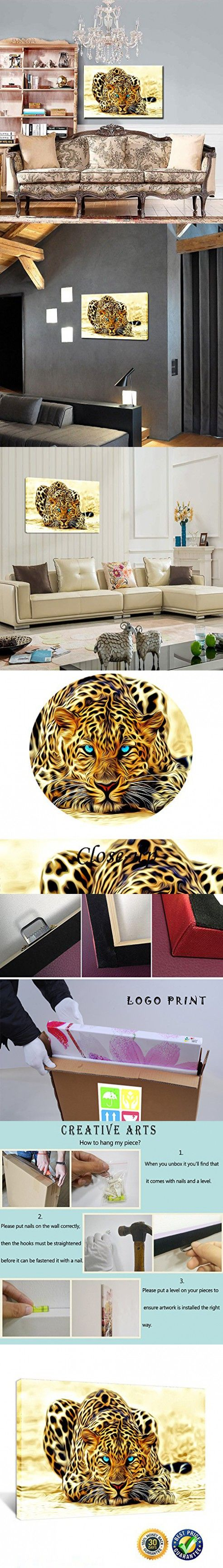 Creative Art- Gallery Wrap Canvas Prints - 3d Golden Cheetah Decorative Framed Canvas Wall Art,south African Animal Picture Print on Canvas,home Wall Decor Ready to Hang 24''x36''