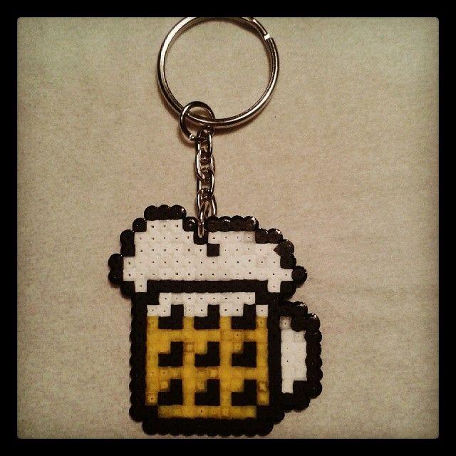Beer keychain hama mini beads by bmxpunker