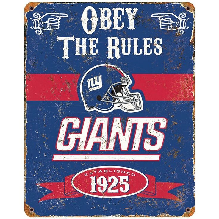 Amazon.com: NFL Football New York Giants Logo Obey Rules Vintage Sign Metal Home Decor: Home & Kitchen