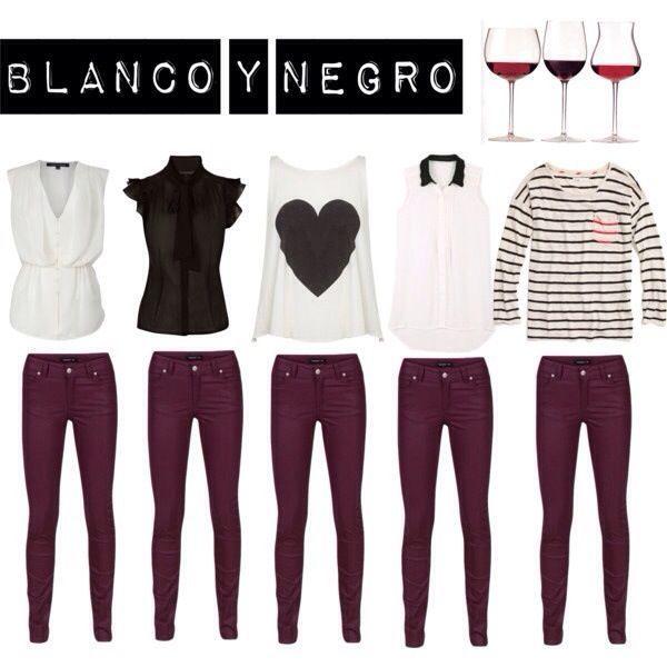 pantalon vino con blanco & negro