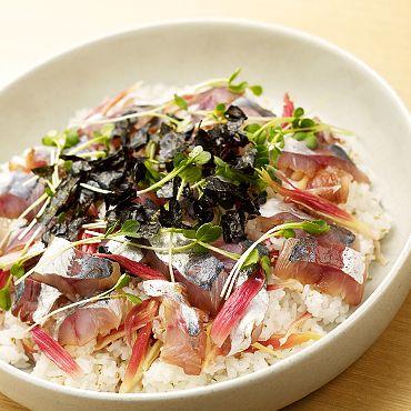 みょうがのピクルスで鰺の手こね寿司