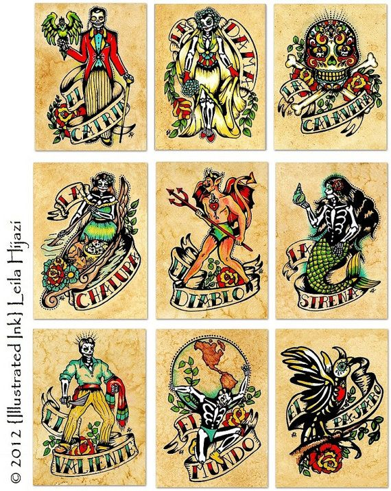 Day of the Dead Tattoo Art EL VALIENTE Loteria by illustratedink