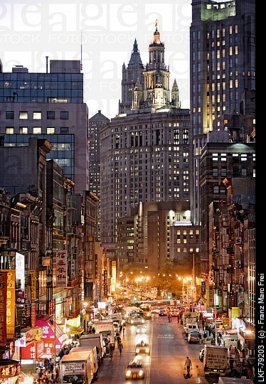 NYC. Chinatown and Woolworth Tower, Manhattan.  © Franz Marc Frei  My notes: New Diamond City is a bit like Chinatown and NYC, but ultimately is a hidden city.