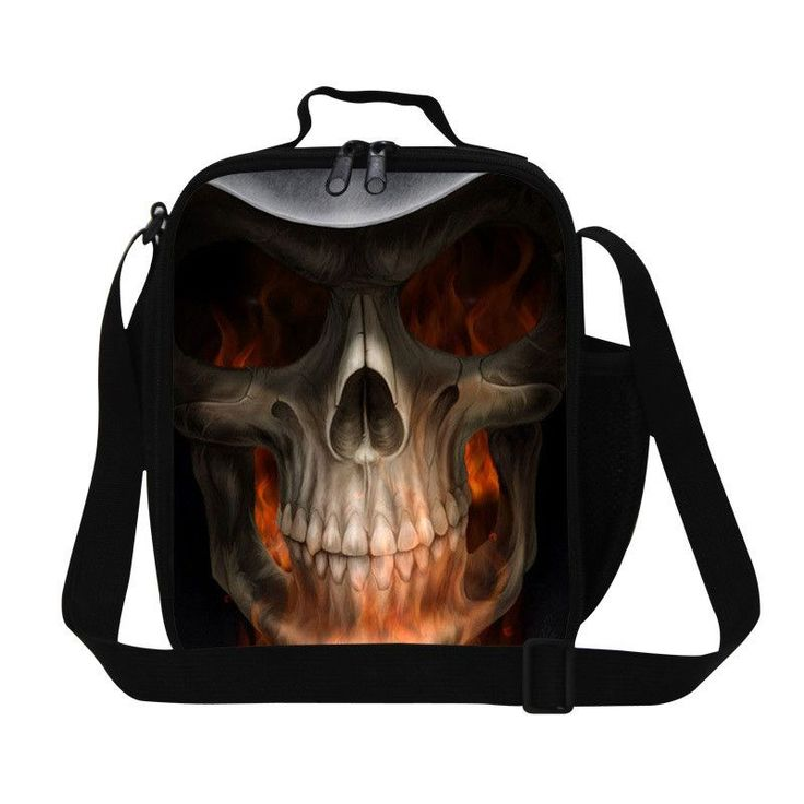 Personalized skull print insulated designer lunch bags for women,mens work lunch container,cool childrens food bag for school