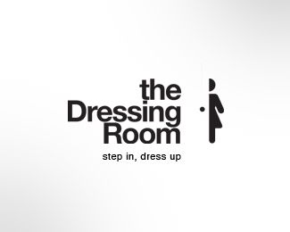 The Dressing Room logo.  Use of mono tones and symbols.  ^James Print
