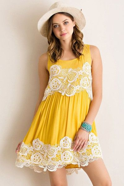 A gorgeous Summer dress that will have you feeling like a ray of sunshine - happy and bright! Color is Mustard Yellow. So cute, and not too bright. True to size