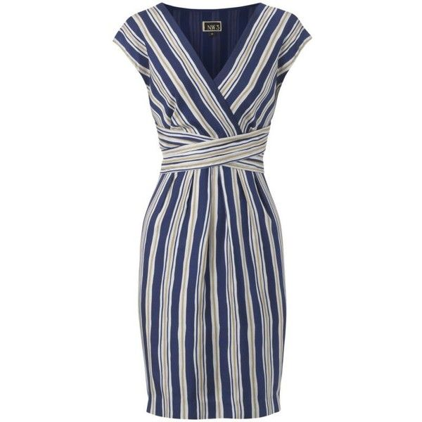 NW3 Cross Over Stripe Silk Dress, Multi found on Polyvore