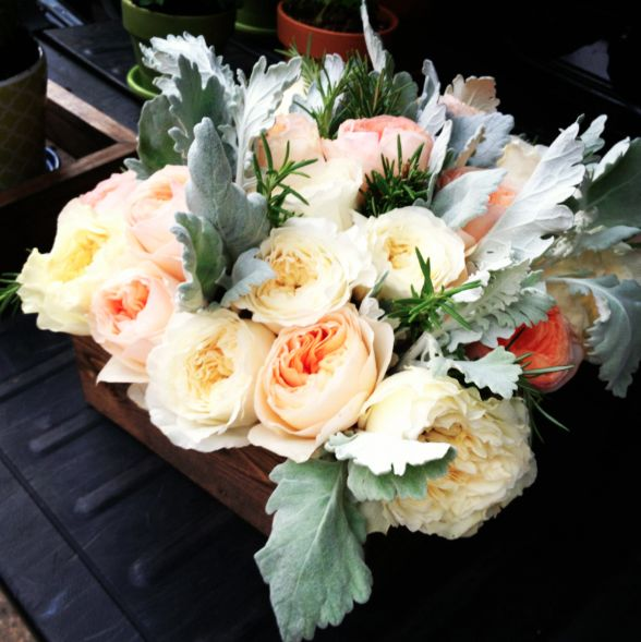 #washington #dc #wedding #flowers #florist #roses Dusty miller #rosemary #reclaimed #wood by www.eleganceandsimplicity.com