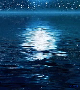 Rippling waters blue night water outdoors stars reflection gif