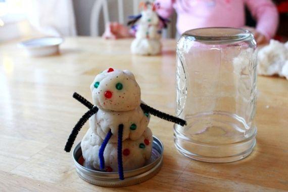 DIY Playdough Snowman in a Jar.