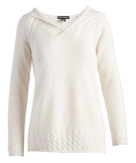 30e34d6ec6e27 Evelyn Taylor Off-White Cable Knit V-Neck Sweater - Women   Plus ...