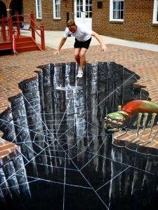 Street art, optical illusion, 3D