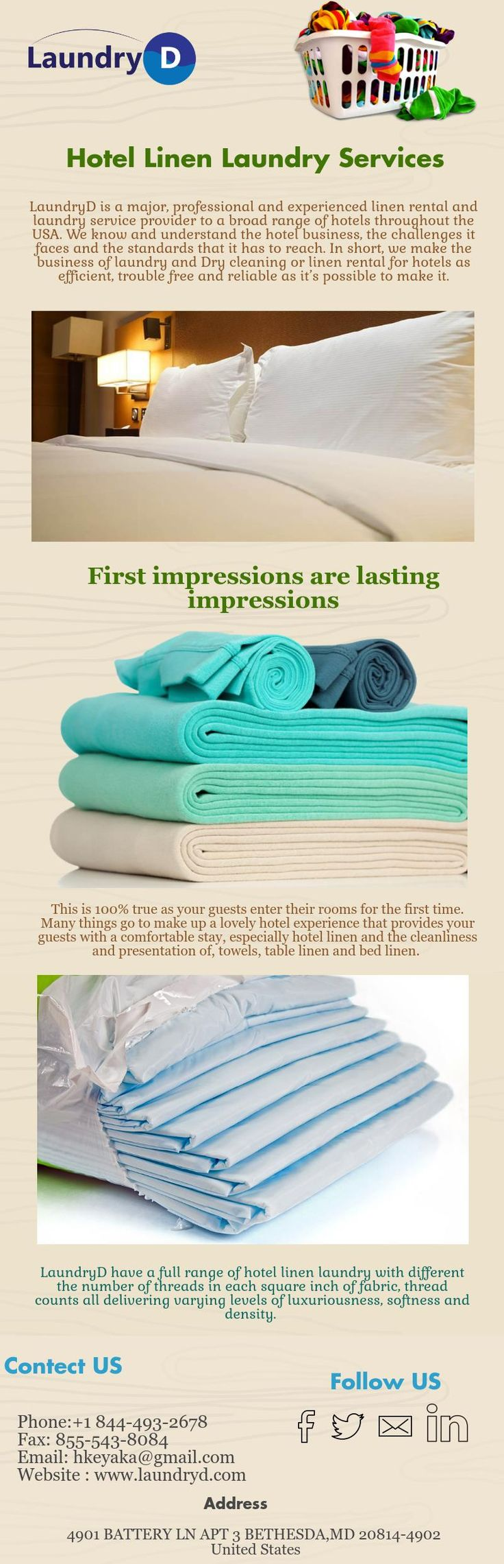 Laundryd have a full range of hotel linen laundry with different the number of threads in