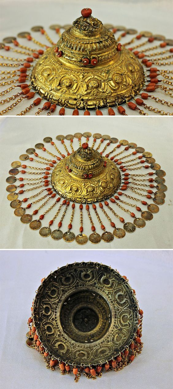 Ottoman solid silver, gold wash and coral bridal headpiece. Original silver coins from the 19th century. - churoazra ebay