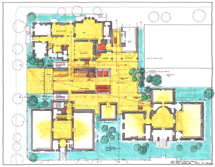 Renzo piano morgan library expansion rendered floor plan for Renovation drawings