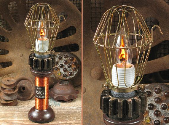 16 best tesla images on pinterest tesla coil alternative energy vintage steampunk industrial lamp w cage high voltage tesla coil tractor part gear sciox Gallery