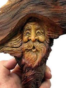 Wood-Tree-Spirit-Log-Home-Hobbit-Cabin-Gnome-Forest-Face-Carving-Sculpture-Art
