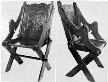 """Another version of this chair is in the V&A in London (Figure 5). The museum claims a 16th century date for this chair, although Chinnery (1979) attributes it to the early 17th century. Although often referred to as """"folding"""" chairs, these chairs do not actually fold, they dismantle. The purpose behind the peculiar shape of the arms is not clear.  Figure 5: A late 16th or early 17th century chair in the V&A Museum."""