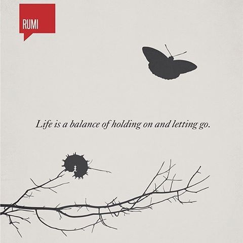 Life is a balance of holding on and letting go -Rumi  I love this quote. So full of wisdom and motivation. Just going to put this on my affirmation board...